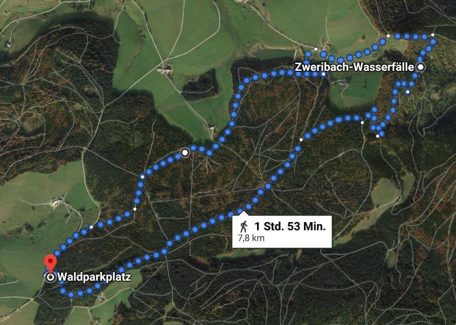 Route vom Waldparkplatz St. Peter zu den Zweribachwasserfällen